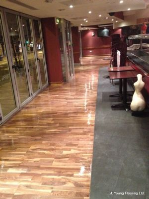 Final coat of seal at May Sum Chinese restaurant, Nottingham